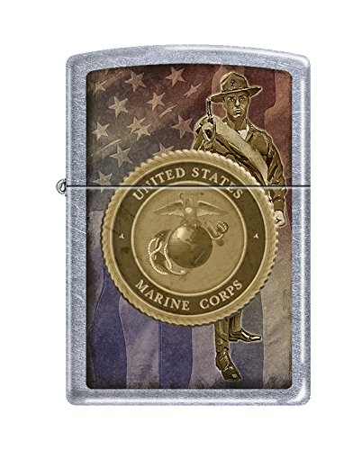 - Zippo USMC Flag and Seal Street Chrome Pocket Lighter