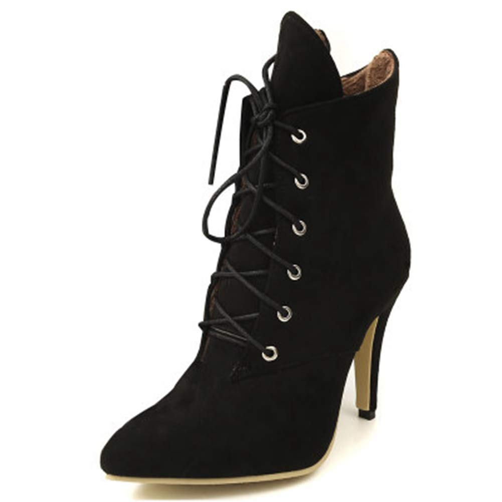SANOMY Women Winter Ankle Thin Heel Boots Fashion Leopard Pointed Toe Casual Shoes Lace Up Booties