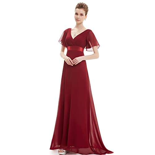 Ever Pretty Womens Double V-Neck Short Flutter Sleeves Empire Waist Long Evening Dresses 09890