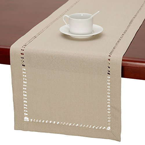 Handmade Hemstitched Polyester Rectangle Table Runners,Beige 14x48 inch - 14 Runner