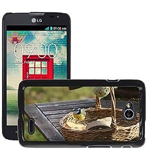 Just Phone Cases Etui Housse Coque de Protection Cover Rigide pour // M00129248 Tit azul Tit Pájaro Feeding Place // LG Optimus L70 MS323