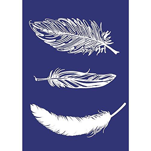 Rayher 4504000 Adhesive Silkscreen, Reusable Silk Screen Stencil, Feathers ()