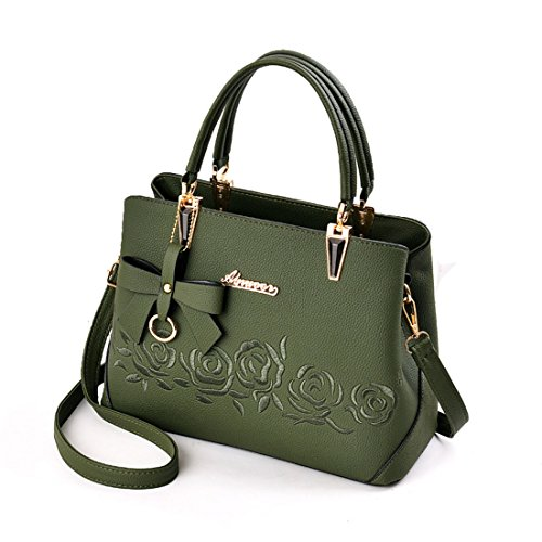 Mogor Women PU Leather Handbag Tote Shoulder Bag with Rose Embroidery Green (Embroidery Tote Rose)