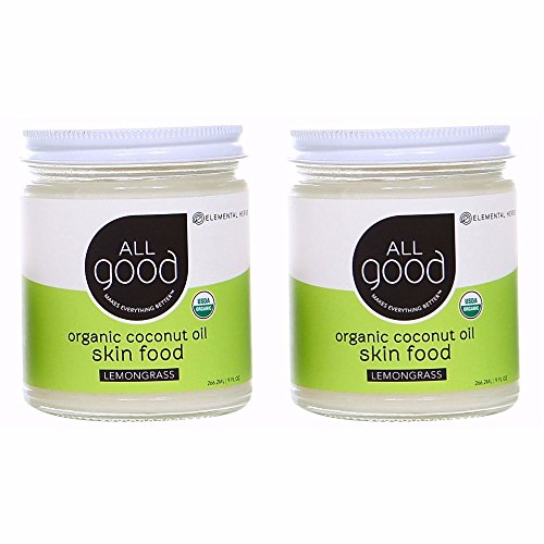 All Good Organic Coconut Oil Skin Food w/Lemongrass - Natural Moisturizing Skin Care & Massage Oil - Non GMO - Vegan - 7.5 oz (Lemongrass)(2-Pack)