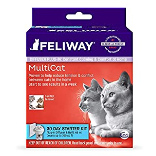Feliway MultiCat Calming Diffuser Kit (30 Day Starter Kit)    Vet Recommended   Reduce Fighting and Conflict Among Cats