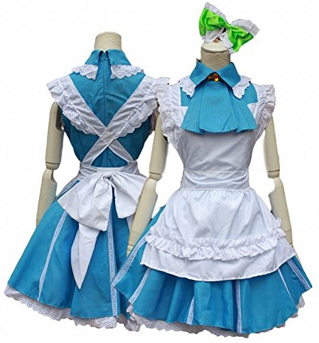[POJ Japanese Anime Love Live Style Maid Costume [ M / L Blue for Women with Apron ] (M)] (Japan National Costume For Kids)
