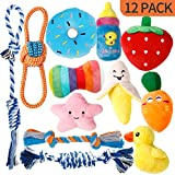 Toozey Puppy Toys for Teething Small Dogs, 12 Pack Cute Small Dog Toys, Stuffed Plush Squeaky Dog Toys Small Dogs, 100% Natural Cotton Ropes Puppy Chew Toys, Non-Toxic and Safe