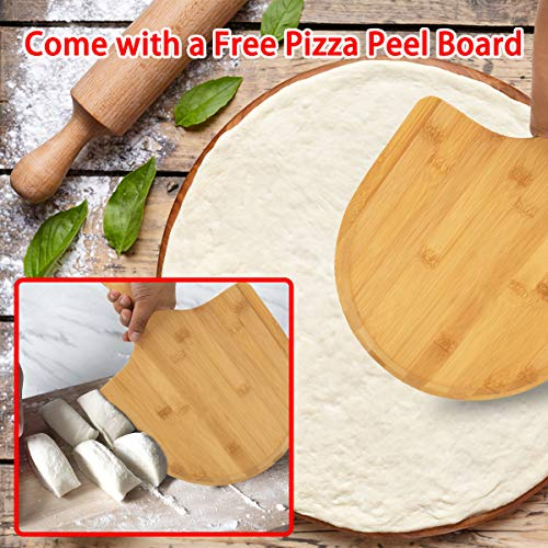 AUGOSTA Pizza Stone for Oven and Grill, Free Wooden Pizza Peel Paddle, Durable and Safe Baking Stone for Grill, Thermal Shock Resistant Cooking Stone, 15 x 12 Inch