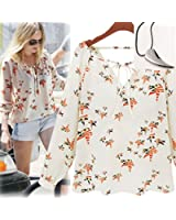 Lookatool Women's Casual Long Sleeve Tether Blouse Chiffon Floral T-Shirt