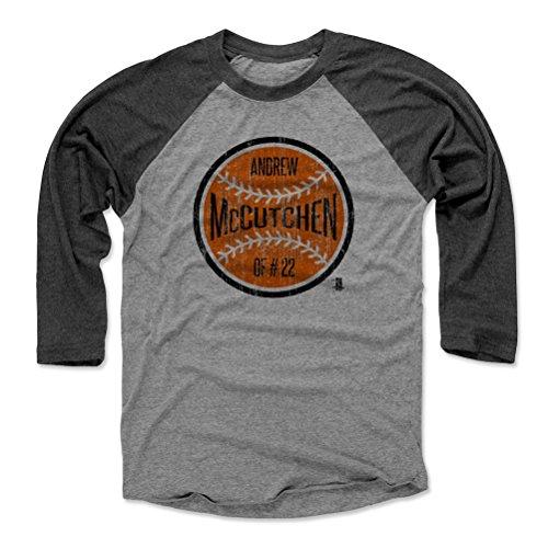 500 LEVEL Andrew McCutchen Baseball Tee Shirt X-Large Black/Heather Gray - San Francisco Baseball 3/4th Sleeve - Andrew McCutchen Ball O