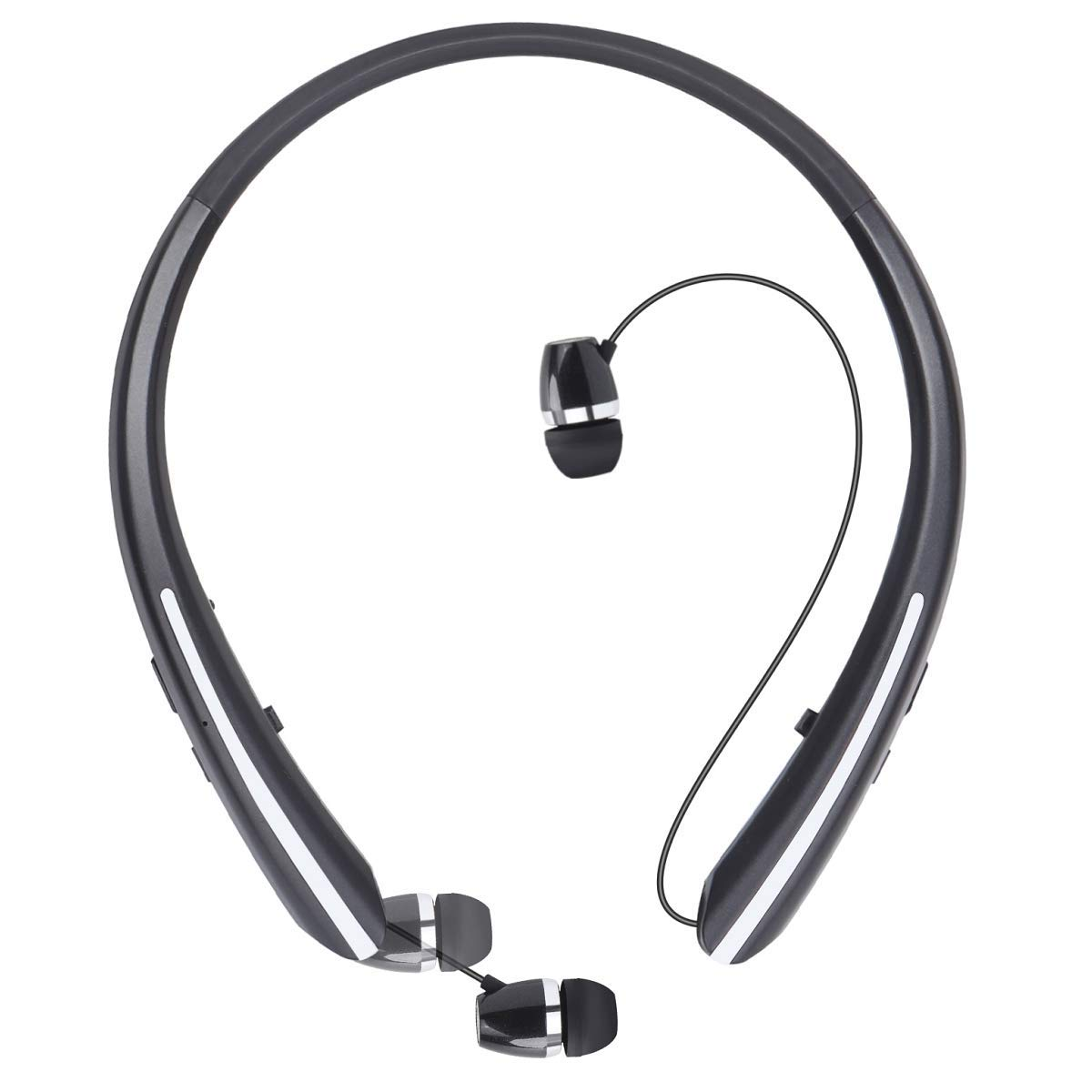 Joyphy Bluetooth Retractable Headphones Wireless Earbuds Neckband Headset Sports Sweatproof Earphones with Mic for iPhone 11 15 Hour Play Time, Black