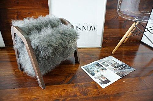 Oak wood Magazine Rack with genuine silver Norwegian Pelssau sheepskin rug - soft curly wool - Design Furniture by MILABERT (MR12)