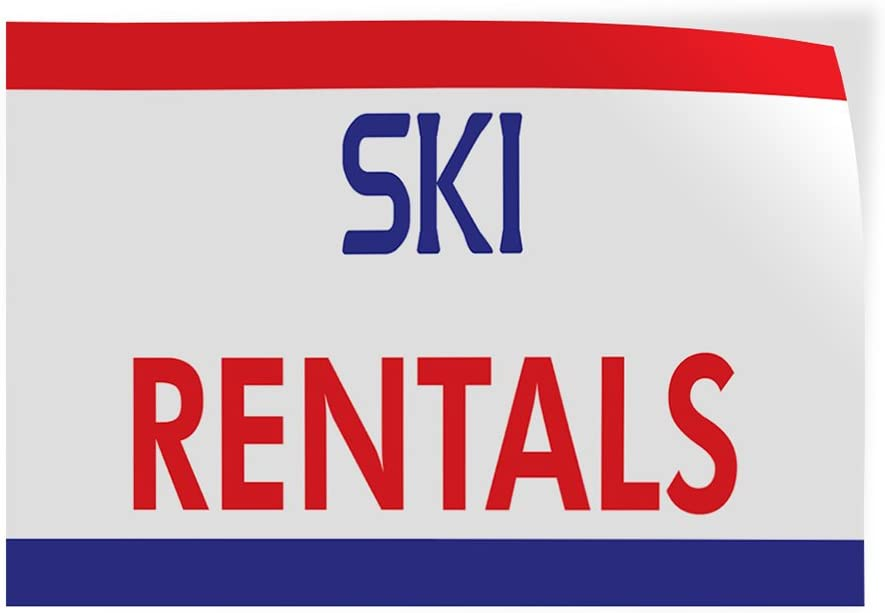 66inx44in Decal Sticker Multiple Sizes Ski Rentals Business Banners ski rentals Outdoor Store Sign White Set of 2