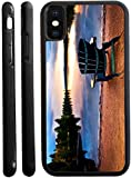 Rikki Knight Wooden Chair at Sunset Design iPhone X Hybrid TPU Case Cover (Black Rubber with Front Bumper Protection) for iPhone X