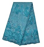 SanVera17 African Lace Net Fabrics Nigerian French Fabric Embroidered and Beading Guipure Cord Lace for Party Wedding 5 Yards us-fabric-081 (light blue)