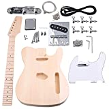 Yibuy Maple DIY TL Electric Guitar Body Neck Fingerboard with Tuning Pegs and 2 Single Coil Pickips Unfinished Suit Accessories