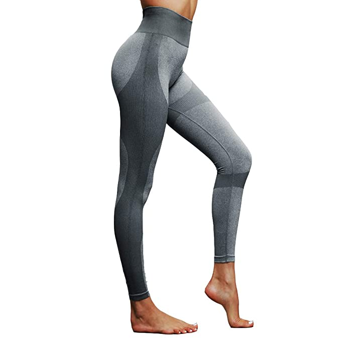 Kratax Women Seamless Camo Yoga Pants Nylon Spandex Thick Workout Leggings Butt Lifting Gym Fitness Sports Capri (Light Grey, M) best yoga leggings