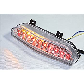 XKMT-Led Tail Brake Light Turn Signals Compatible With Kawasaki Ninja Zx6R 2007 2008 Clear B00YWBWF6U