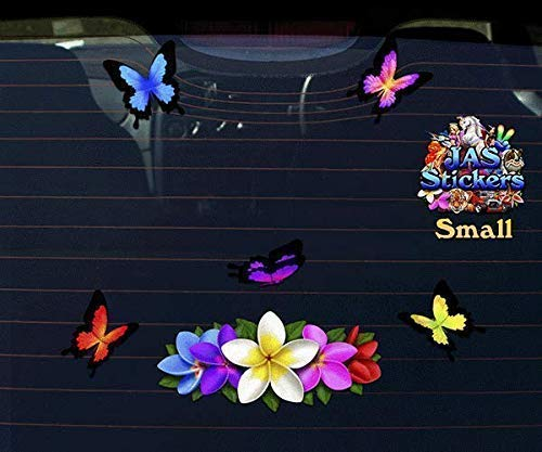 Boats Decor Multi Frangipani Centre Animal Vinyl Small Sticker Pack For Laptop ST00046MC/_SML JAS Stickers/® FLOWER PLUMERIA BUTTERFLY Car Decals Bicycle Trucks Caravans