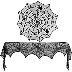 Konsait Halloween Decoration Black Lace Spiderweb Fireplace Mantle Scarf Cover Round Lace Table Topper Lace Spiderweb Table Runner for Halloween Dinner Parties and Scary Movie Nights Party Favor Supplies(2Pack)