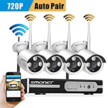[Clearer Than 960H]Wireless Cameras Security System,SMONET 4CH 720P Wireless Surveillance Camera System,4pcs 1.0MP WIFI Bullet IP Cameras,Support Motion Detection Alarm,Easy Remote View,No Hard Drive