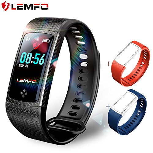 Digital Heart Rate Monitor Watch (LEMFO Fitness Tracker Color Screen Heart Rate Monitor Swimming Waterproof Activity Tracker Smartband Sleep Monitor Pedometer Smart Bracelet Wristband for IOS Android (Black))