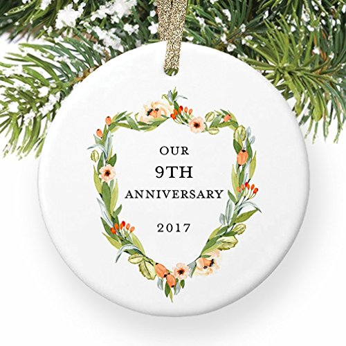 9th Anniversary Gifts, Ninth Christmas Ornament 2017, 9 Years Together Couple Husband & Wife Wedding Anniversaries Ceramic Present Keepsake 3