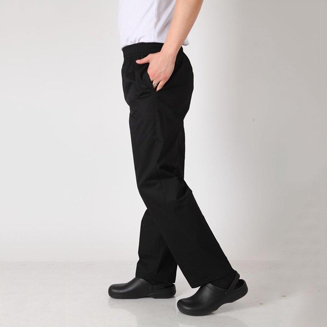 Enerhu Men Elastic Waist Baggy Chef Pants Pockets Hotel/Kitchen/Restaurant/Coffee Uniform Pants Asian M by Enerhu (Image #3)