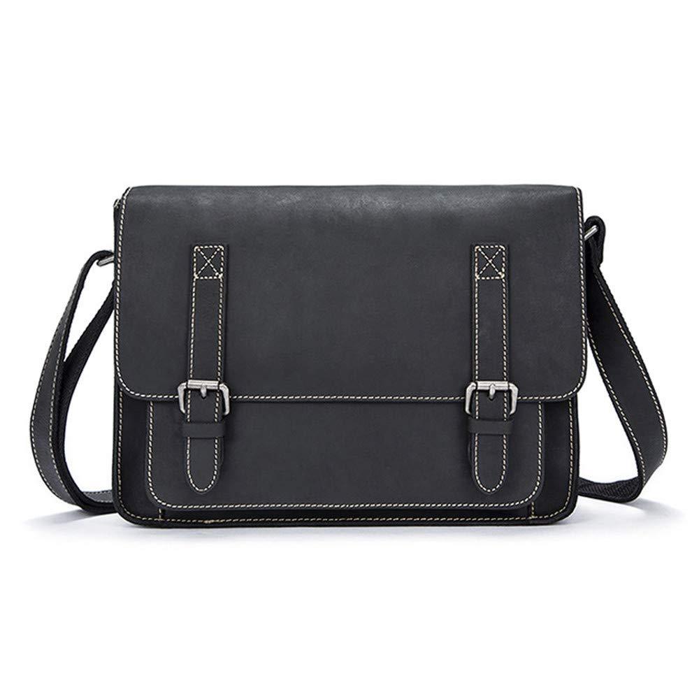 Balalafairy Lightweight Messenger Bag Men's Messenger Shoulder Bag Vintage Leather Briefcase Crossbody Day Bag for School and Work Adjustable Shoulder Strap by Balalafairy (Image #2)