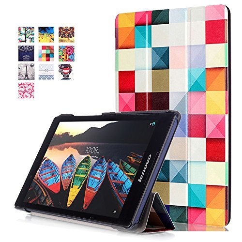 Lenovo Tab2 A8 Case, WITCASE Colorful Tri-Fold Multi-Angle Stand Tablet Case with Auto Sleep / Wake Function,Premium PU Leather Tablet Case for Lenovo Tab2 A8-50 8-Inch 16 GB Tablet - Psychedelic Cube by WITCASE
