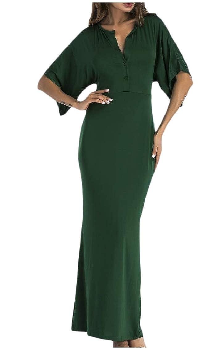 Coolred-Women V Neck Flounced Sleeve High Waist Bodysuit Maxi Long Dress
