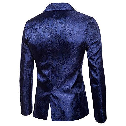 331493618d9 Amazon.com: EbuyChX Print Dark Grain One Button Men's Blazer DEEP Blue 2XL:  Clothing