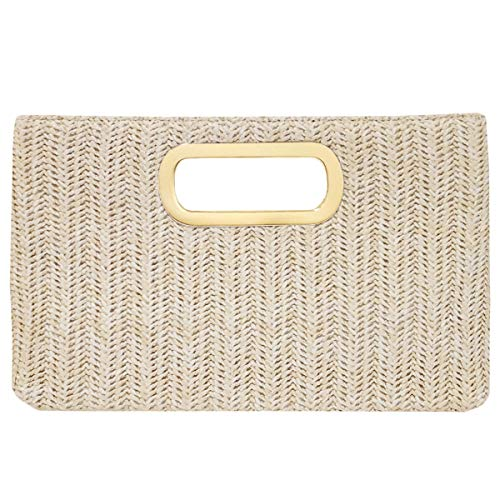 - Top Handle Straw Clutch, Ivory