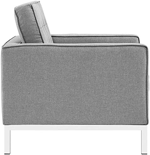 Modway Loft Upholstered Fabric Mid-Century Modern Accent Arm Lounge Chairs in Light Gray – Set of 2