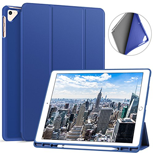 Ztotop Case for iPad Pro 12.9 Inch 2017/2015 with Pencil Holder- Lightweight Soft TPU Back Cover and Trifold Stand with Auto Sleep/Wake,Protective for iPad Pro 12.9 Inch(1st & 2nd Gen),Blue