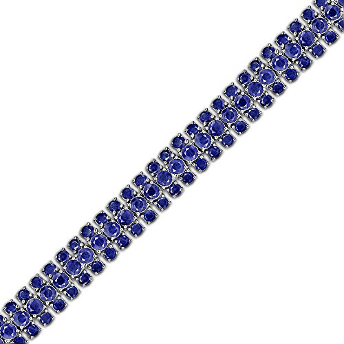 Fine Round Cut Blue Sapphire Tennis Link Bracelet in Sterling Silver