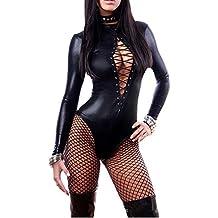Moore Women's Long Sleeve Club Bodysuit Leather Lingerie