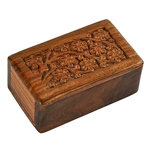 BATRA ASSOCIATES Beautifully Handmade Handcrafted Tree Of Life Engraving Wooden Urns For Human Ashes Adult By S.B Arts Wooden Box 5 X 3 X 2