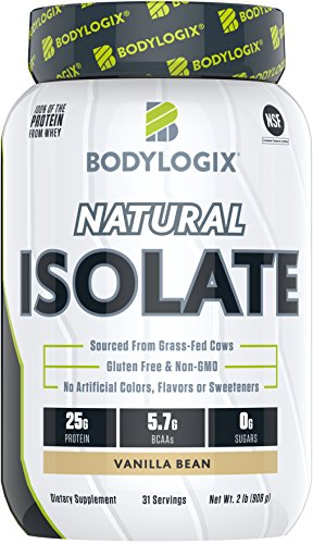 Bodylogix Natural Grass-Fed Whey Isolate Protein Powder, NSF Certified, Vanilla Bean, 2 Pound