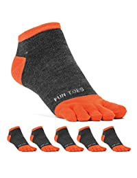 FUN TOES Men's Toe Socks Lightweight Breathable-Value 6 PAIRS Shoe Size 6-10