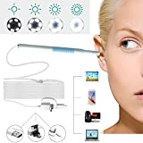 Ear Cleaning Endoscope Otoscope 3 in 1 USB Inspection Camera 6 LED Borescope Visual Earpick 1.3 Mega Pixel 720P HD Scope Earwax Removal Cleansing Tool Kit OTG Android Micro USB,USB-C,PC,MAC -White