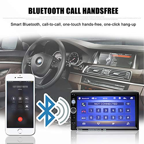 Double Din Car Stereo in-Dash Bluetooth Touch Screen 7 inch with Rear-View Camera,Video MP5/4/3 Player, Radio FM, Car Stereo Receiver, Support Steering Wheel Remote Control, Mirror Link, Caller ID by Yakalla (Image #3)