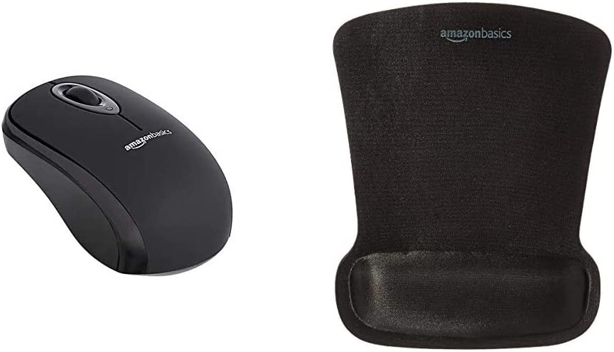 AmazonBasics Wireless Mouse with Nano Receiver and Gel Mouse Pad with Wrist Rest , Black
