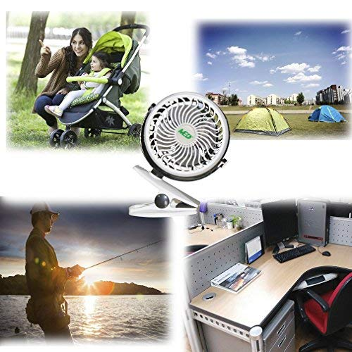 Baby Stroller Mini Battery Operated Clip Fan,Small Portable Fan Powered by Rechargeable Battery or USB Desk Personal Car Gym Workout Camping whiteblack White-B