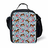 FOR U DESIGNS Thermal Insulted Lunch Bag for Kids Small 3D Arabian Horse Printing Lunchbox