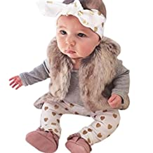 Baby Clothing Set, Newborn Boys Girls Bear Tops Romper Pants Headband 3PCS Outfits Clothes