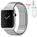 Eoso Stainless Steel Replacement Smart Apple Watch Band Link Bracelet with Double Button Folding Clasp for 42mm Apple Watch All Model (Bracelet Silver,42mm)
