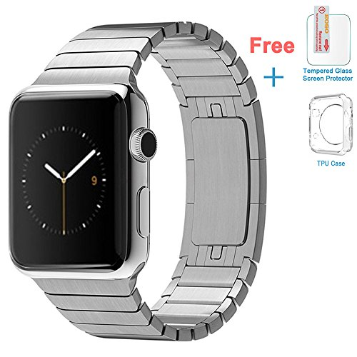 Eoso Stainless Steel Replacement Smart Apple Watch Band Link Bracelet With Double Button Folding Clasp For 42Mm Apple Watch All Model  Bracelet Silver 42Mm