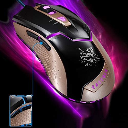 Black Gaming Length: 1.8m Color : Black HGWEI V15 USB 2400DPI Four-Speed Adjustable Asymmetric Wired Optical Gaming Mouse with LED Breathing Light