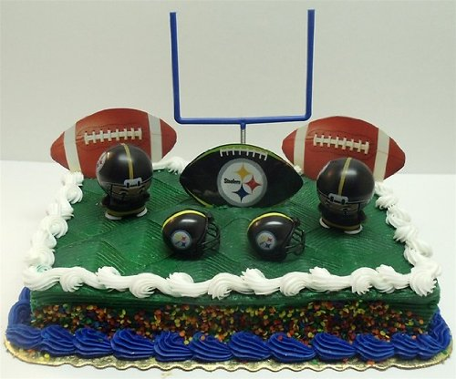 NFL Football Pittsburgh Steelers Birthday Cake Topper Set Featuring Helmets And Decorative Pieces